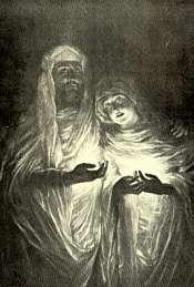 Parece lógico que un auténtico espíritu materializado lleve puesta aún una mortaja, pero la voluminosa vestimenta podría ser el disfraz ideal de un «espiritu» impostor.